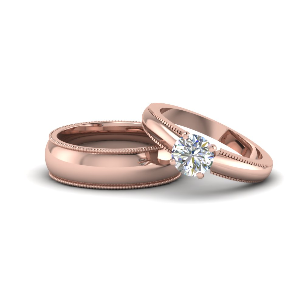 round cut matching wedding anniversary ring with band for him and her in 14K rose gold FD8139B NL RG