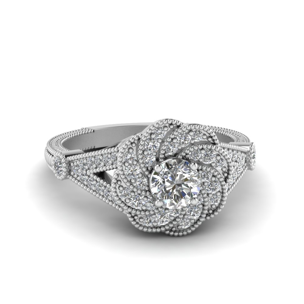 Halo Flower Style Engagement Ring For Her