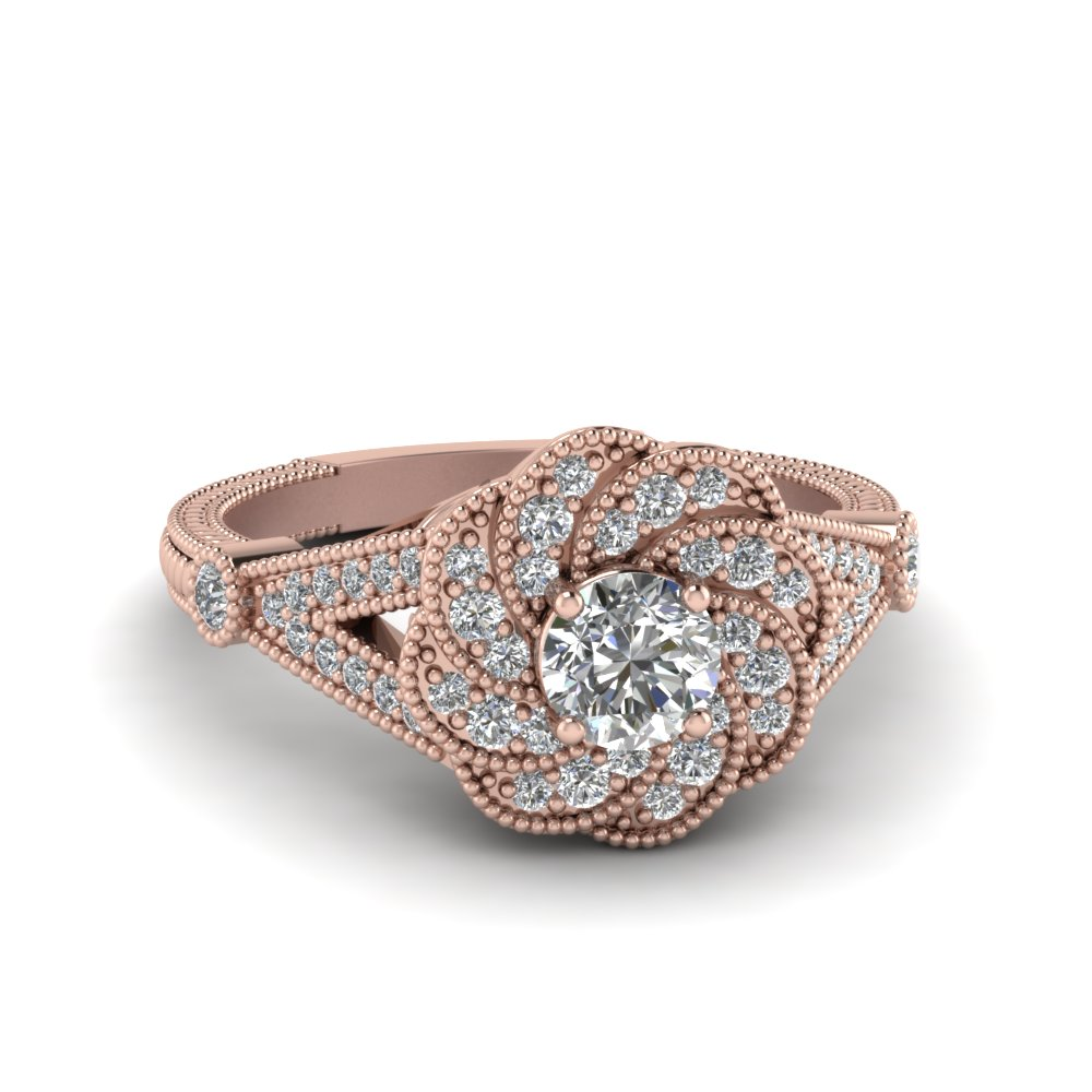 Flower Diamond Wedding Rings