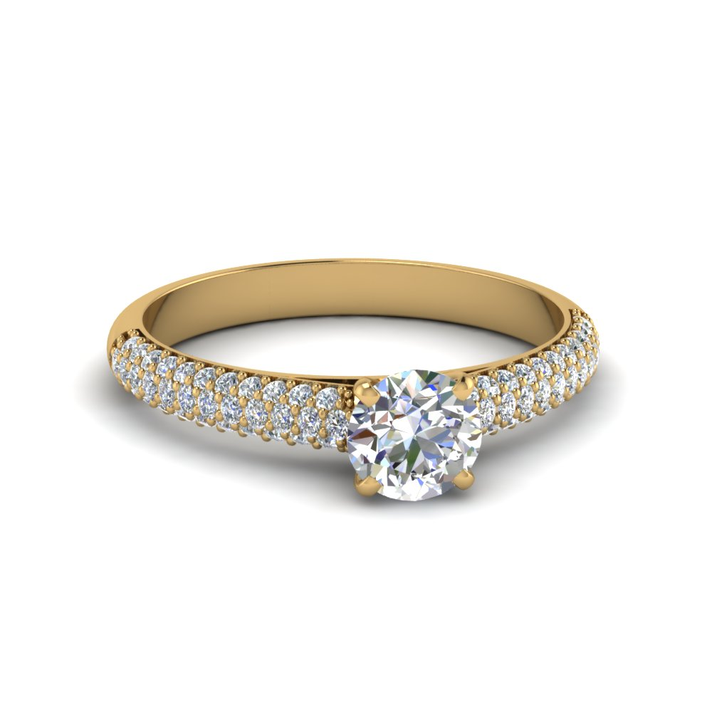 round cut micropave natural diamond engagement ring in 14K yellow gold FD8254ROR NL YG