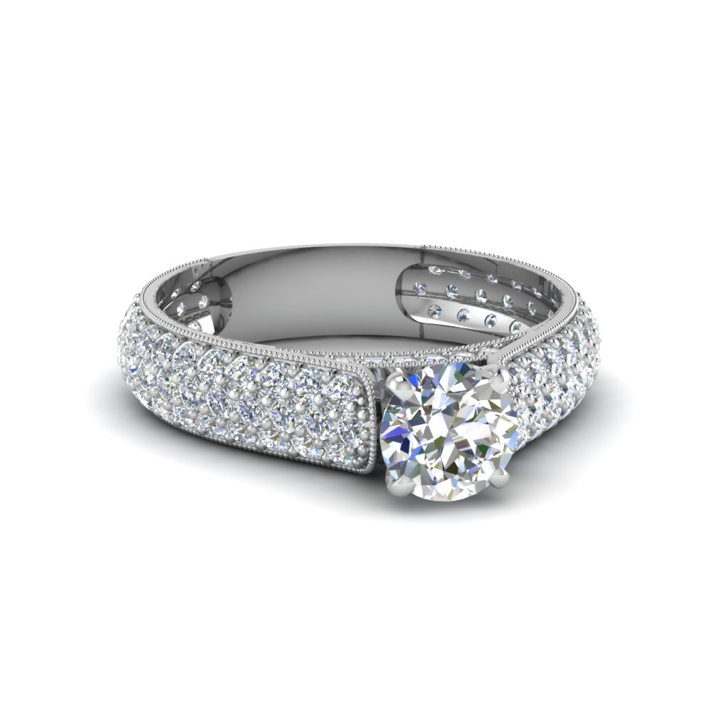 round cut milgrain multi row pave diamond engagement ring in 14K white gold FDENS1452ROR NL WG