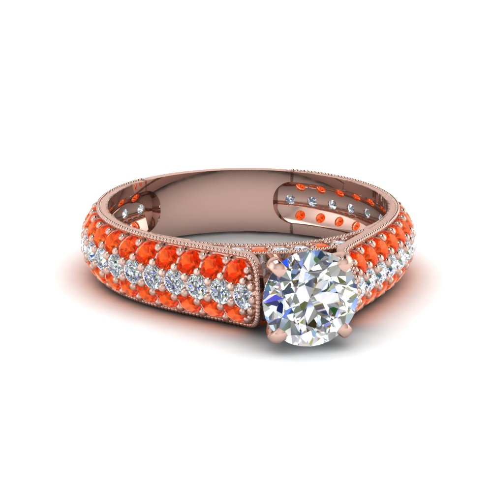 round cut milgrain multi row pave diamond engagement ring with orange topaz in 14K rose gold FDENS1452RORGPOTO NL RG