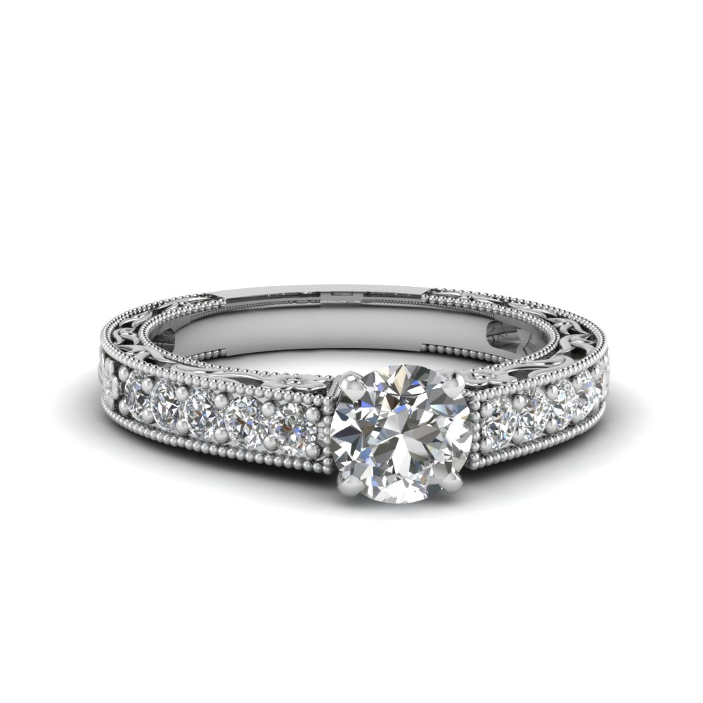 round cut milgrain pave diamond engagement ring in FDENS3506ROR NL WG