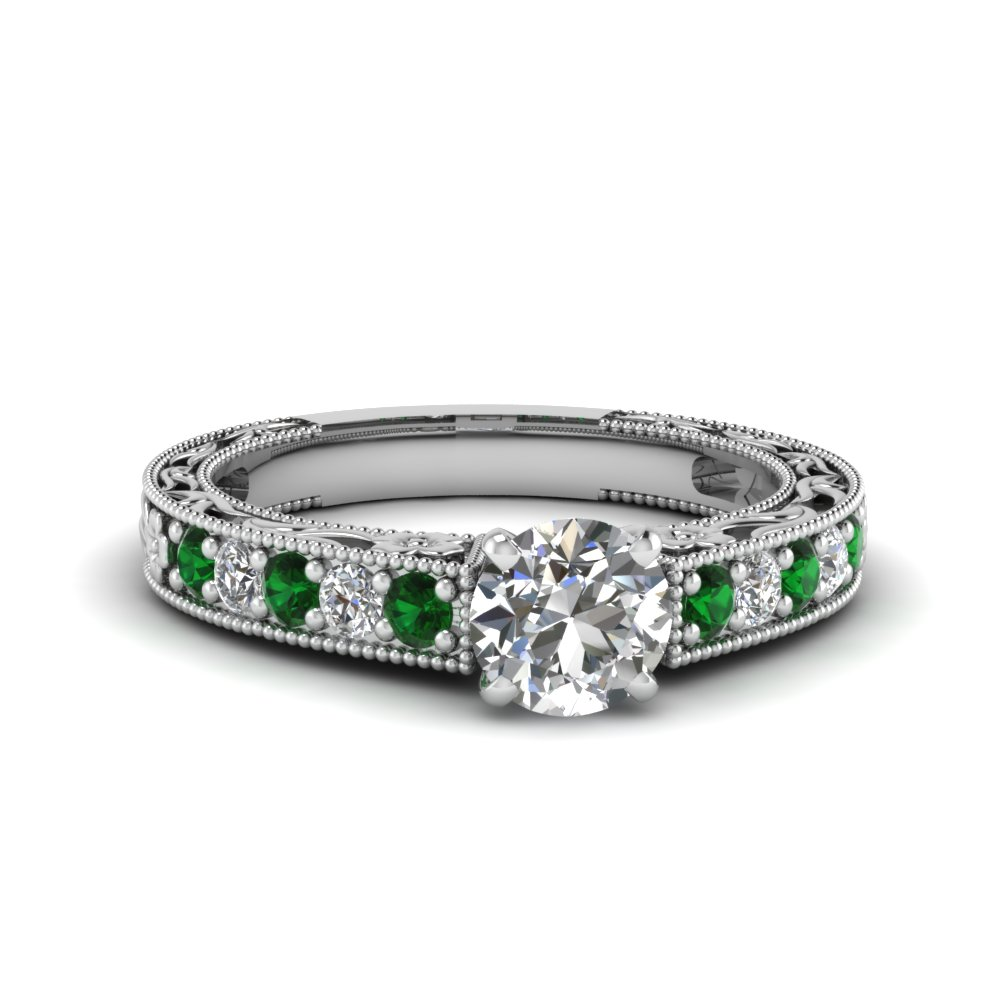 round cut milgrain pave diamond engagement ring with emerald in FDENS3506RORGEMGR NL WG
