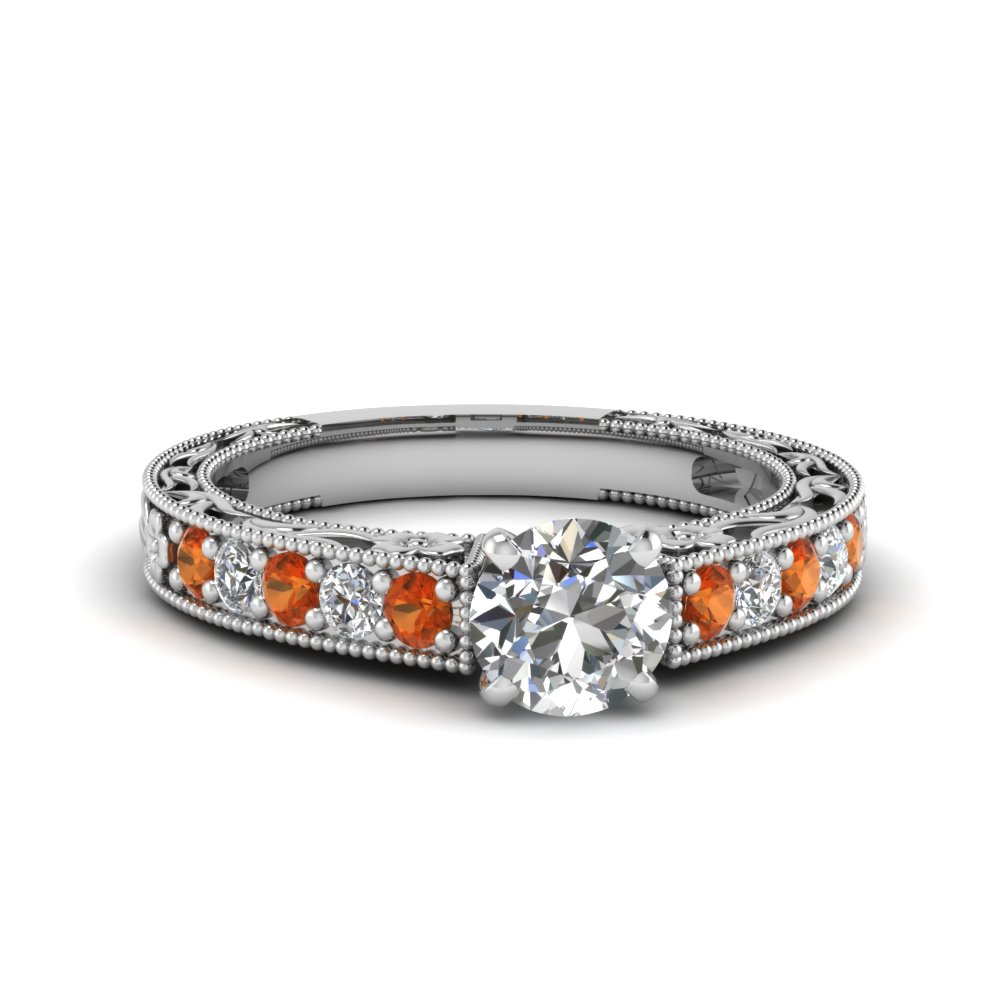 round cut milgrain pave diamond engagement ring with orange sapphire in FDENS3506RORGSAOR NL WG