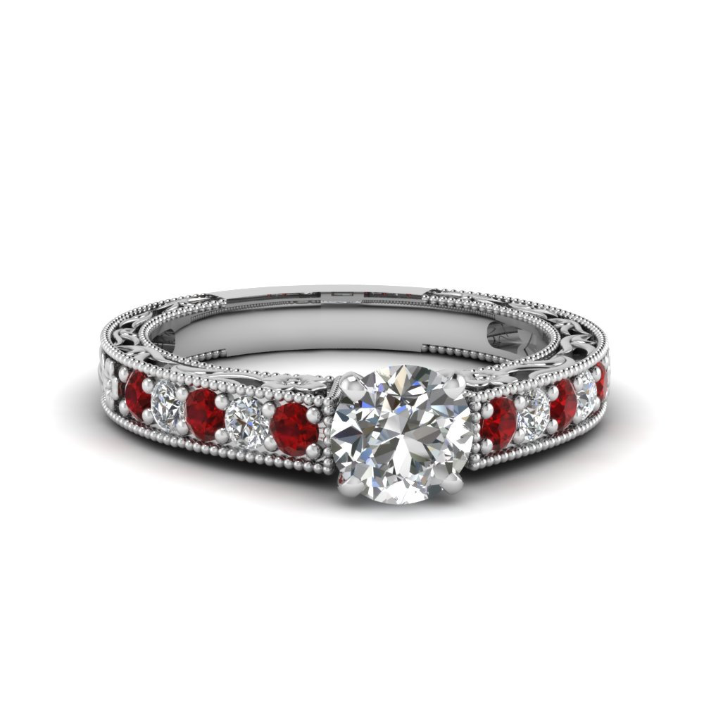 round cut milgrain pave diamond engagement ring with ruby in FDENS3506RORGRUDR NL WG