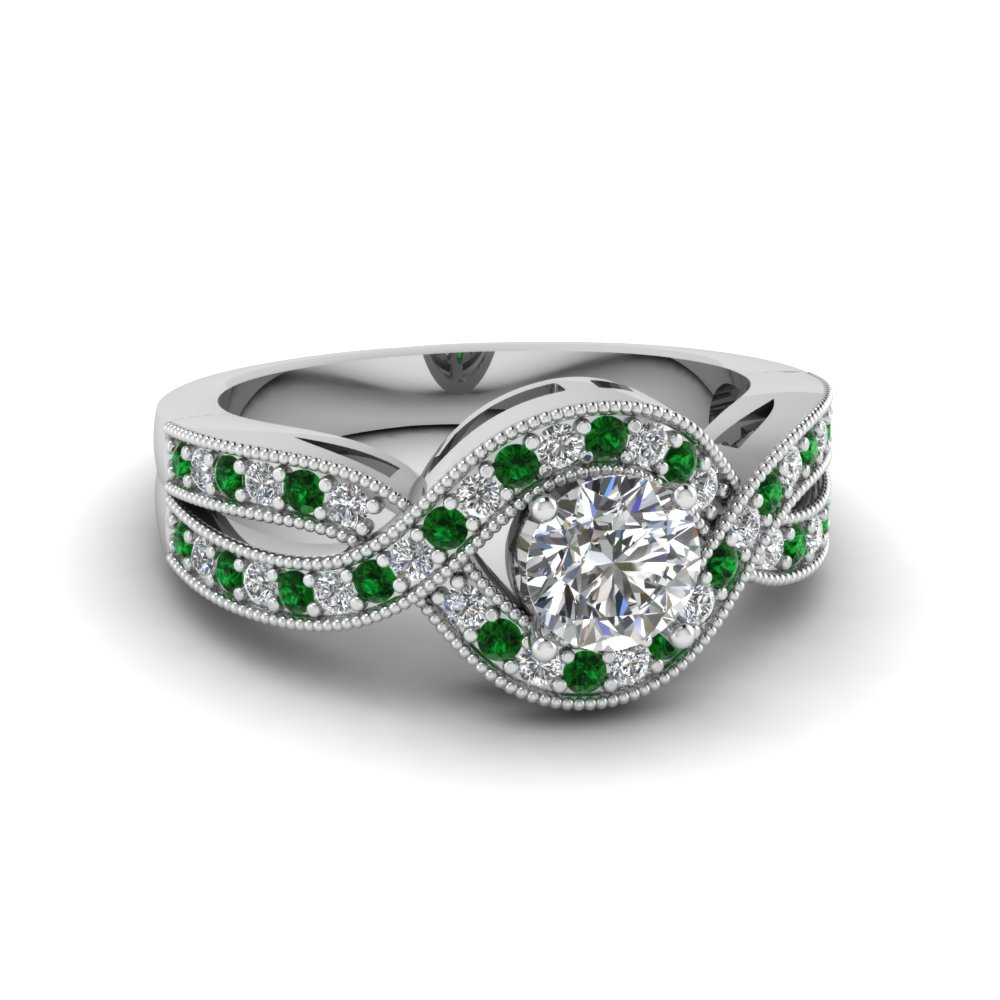 Emerald Infinity Halo Ring
