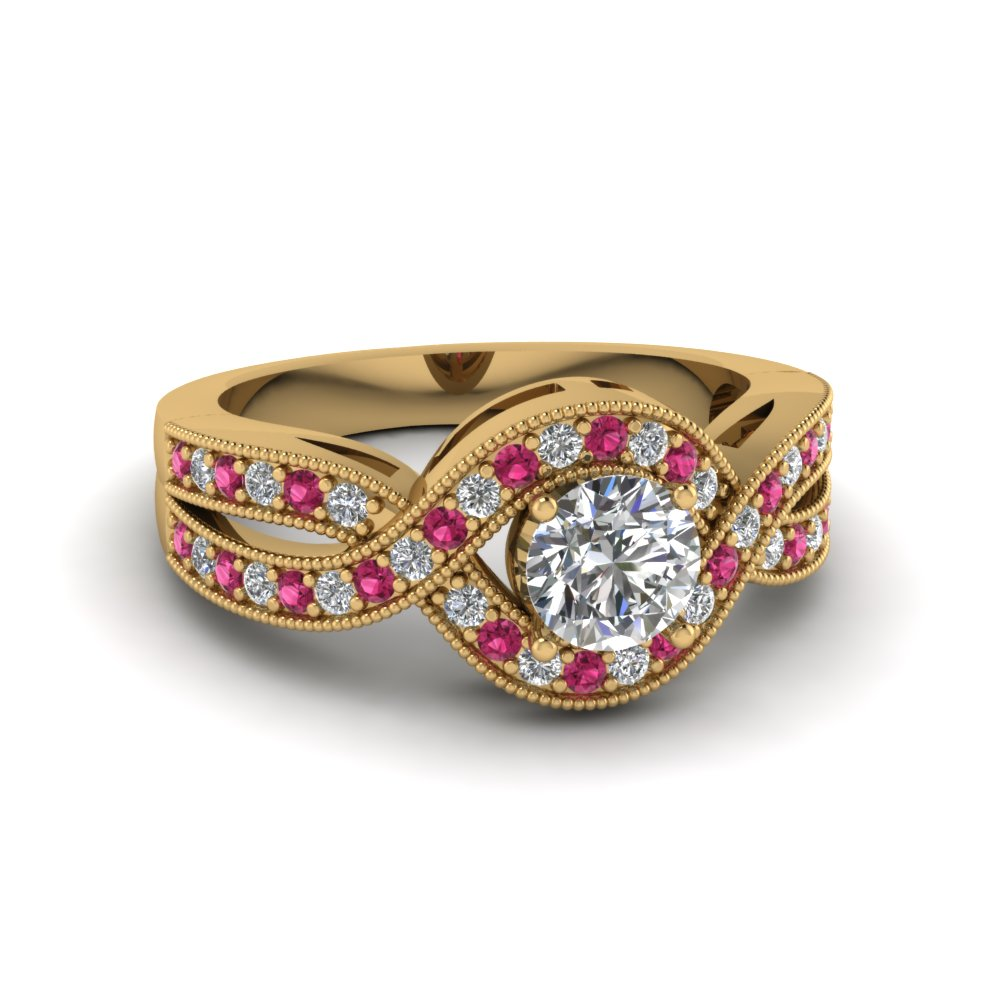 round cut milgrain pave diamond split shank engagement ring with pink sapphire in 14K yellow gold FDENR8304RORGSADRPI NL YG 120