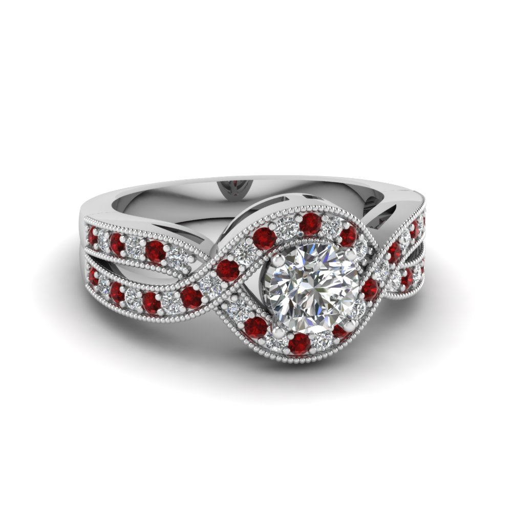 Platinum Ruby Halo Ring