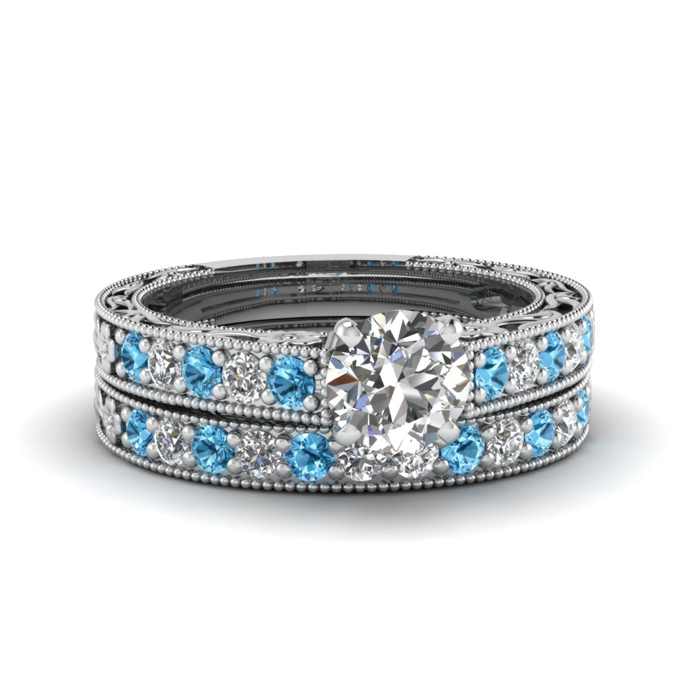 round cut milgrain pave diamond wedding ring sets with blue topaz in FDENS3506ROGICBLTO NL WG