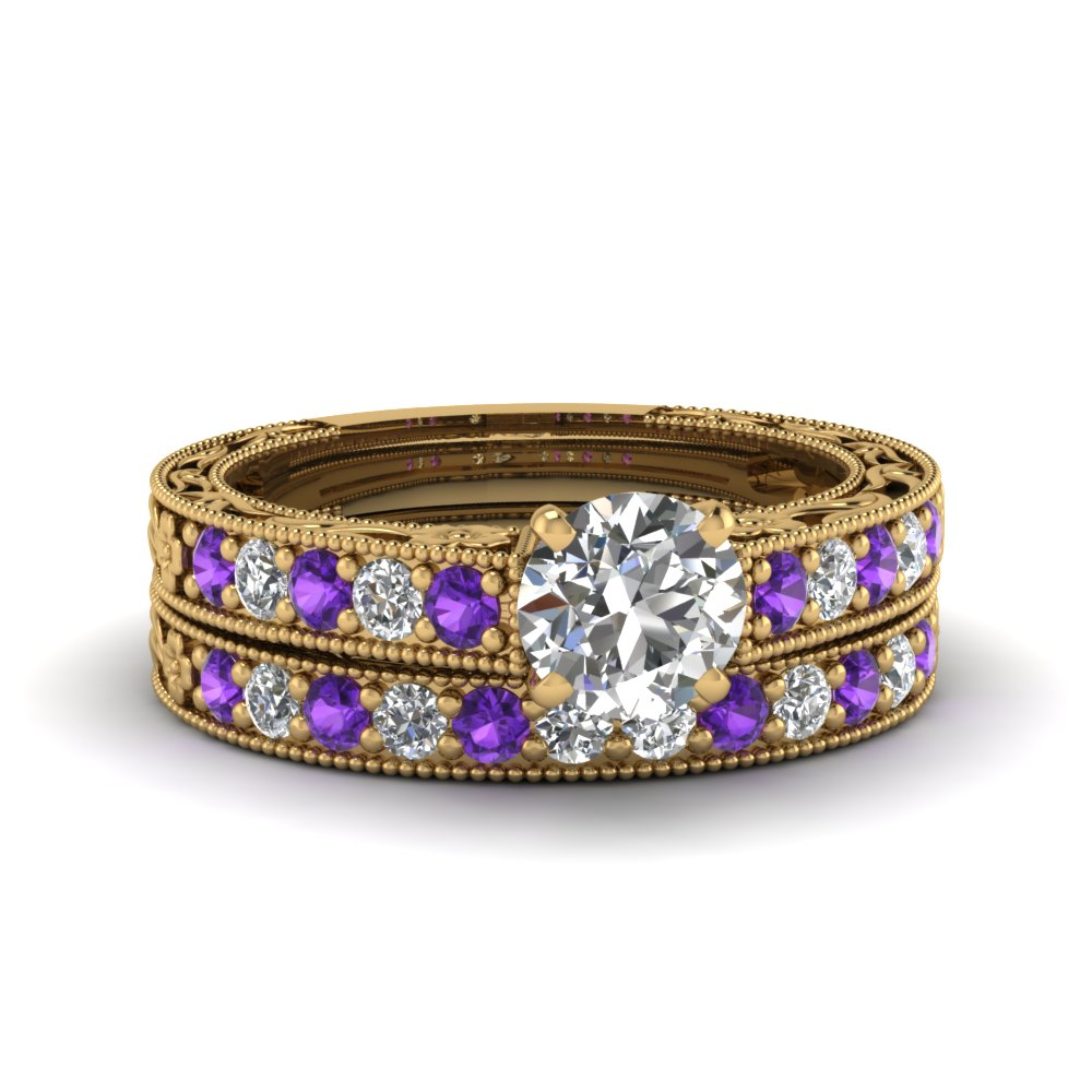 round cut milgrain pave lab diamond wedding ring sets with purple topaz in FDENS3506ROGVITO NL YG