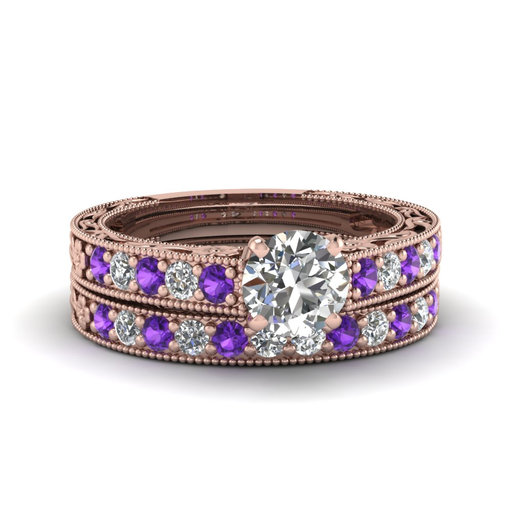 round cut milgrain pave moissanite wedding ring sets with purple topaz in FDENS3506ROGVITO NL RG