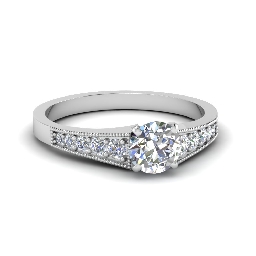 Milgrain 14k White Gold Round Diamond Ring
