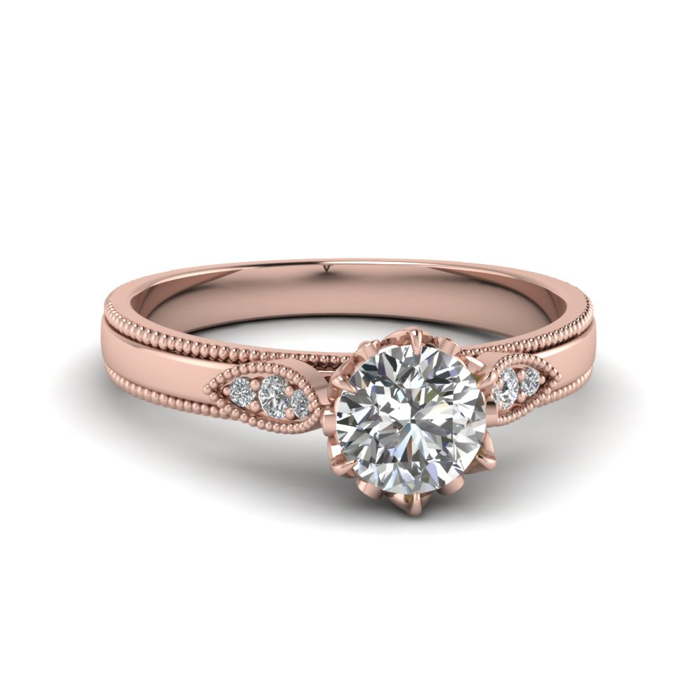 Milgrain Simple Diamond Ring