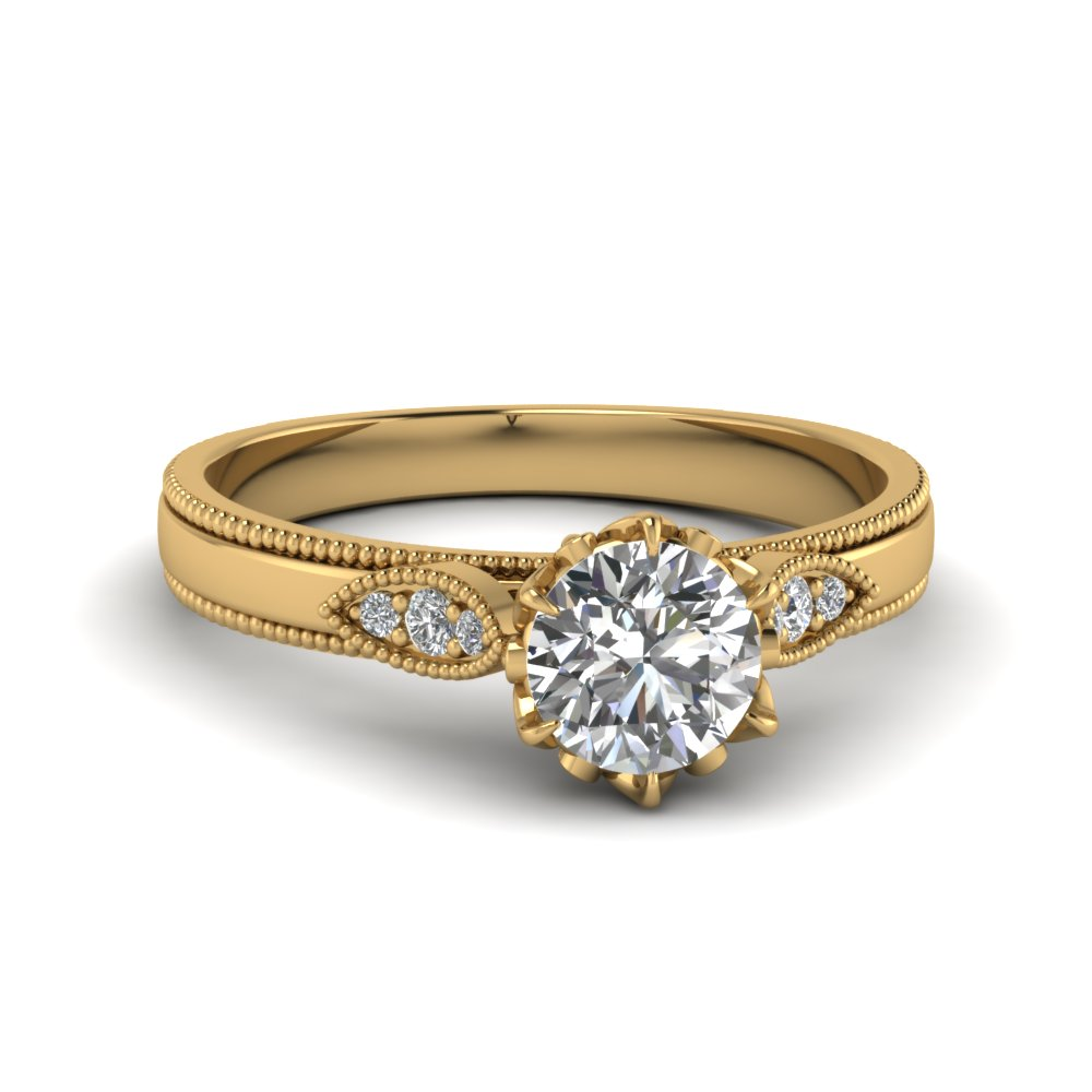 Round Cut Milgrain Engagement Rings