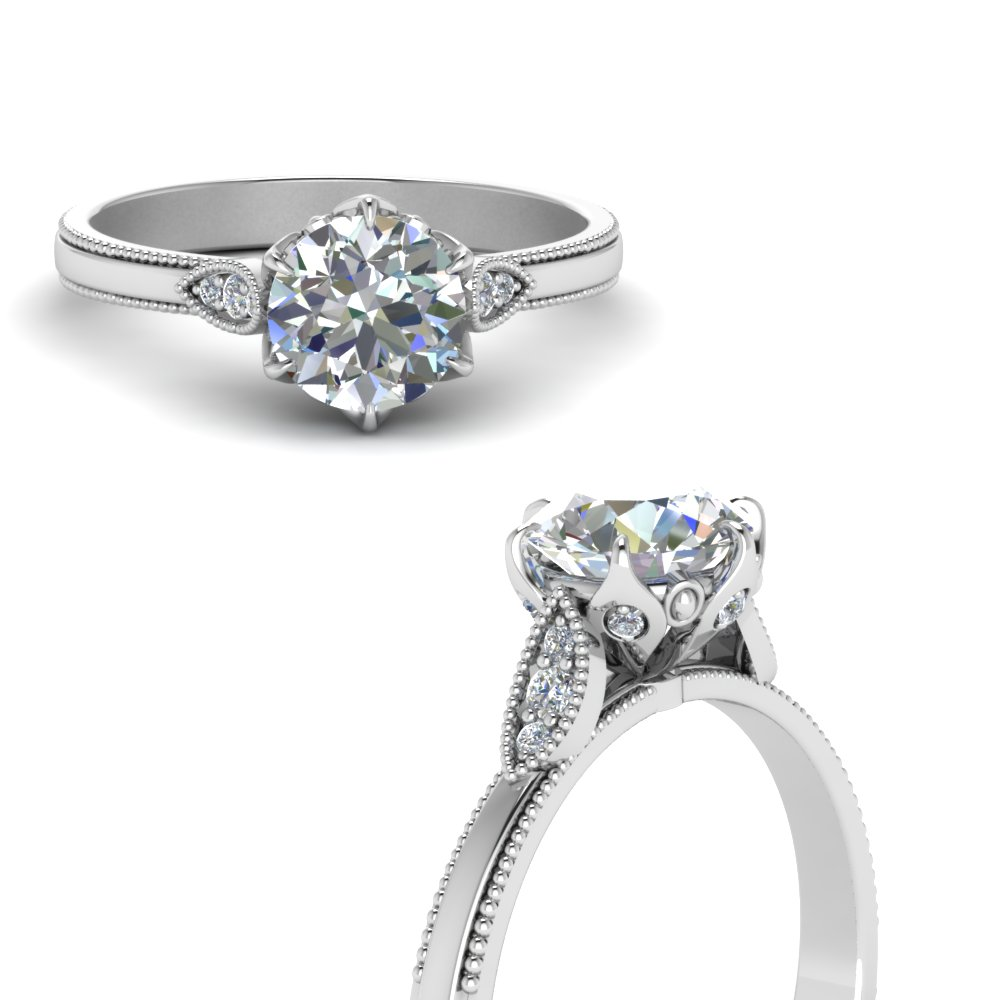 round cut milgrain simple diamond engagement ring in FD122990RORANGLE3 NL WG.jpg