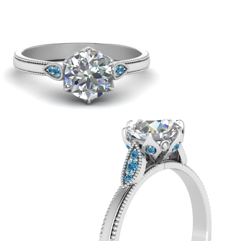 round cut milgrain simple lab diamond engagement ring with blue topaz in FD122990RORGICBLTOANGLE3 NL WG.jpg