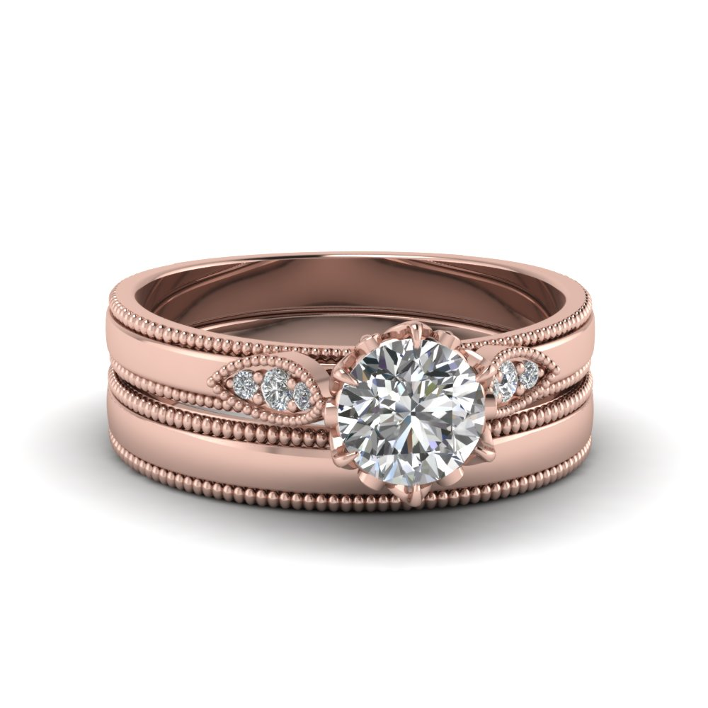 Milgrain Simple Diamond Wedding Set