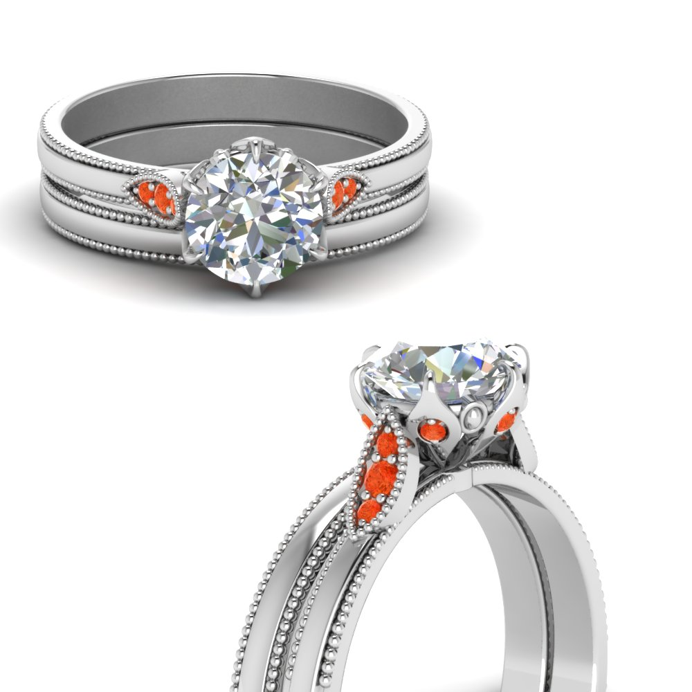 round cut milgrain simple diamond wedding set with orange topaz in FD122990ROGPOTOANGLE3 NL WG.jpg