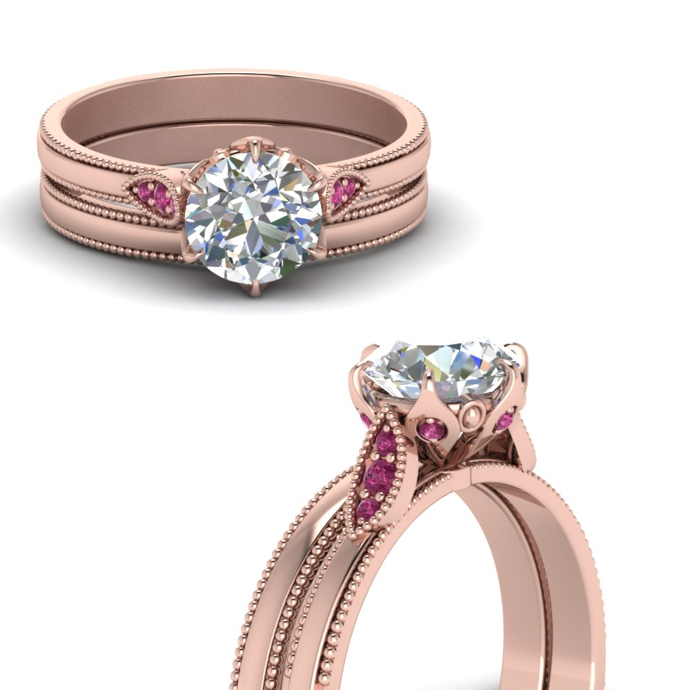 round cut milgrain simple moissanite wedding set with pink sapphire in FD122990ROGSADRPIANGLE3 NL RG.jpg