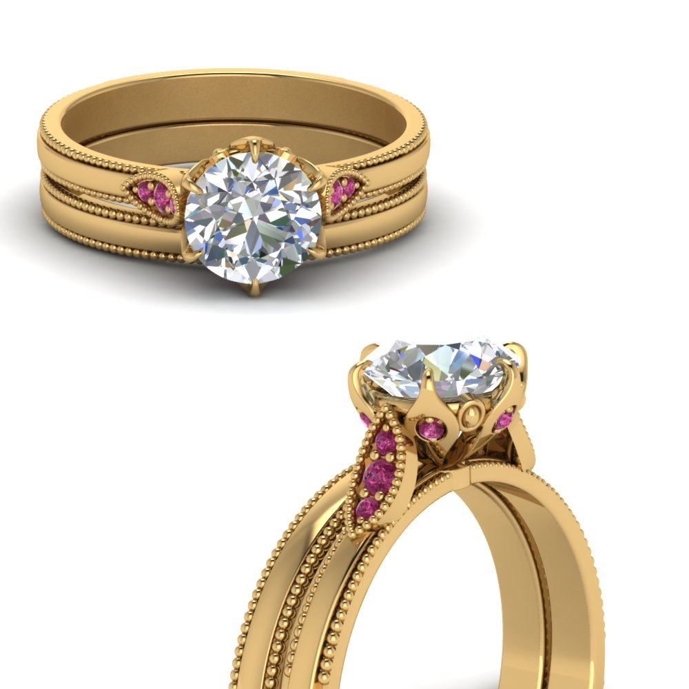 3411d6016117b Milgrain Simple Diamond Wedding Set