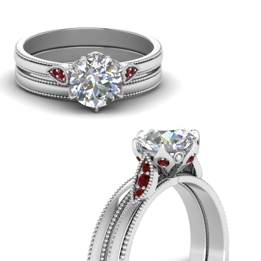 round cut milgrain simple diamond wedding set with ruby in FD122990ROGRUDRANGLE3 NL WG.jpg