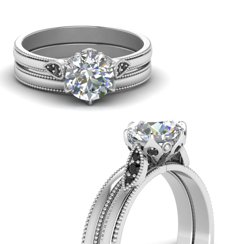 round cut milgrain simple wedding set with black diamond in FD122990ROGBLACKANGLE3 NL WG.jpg