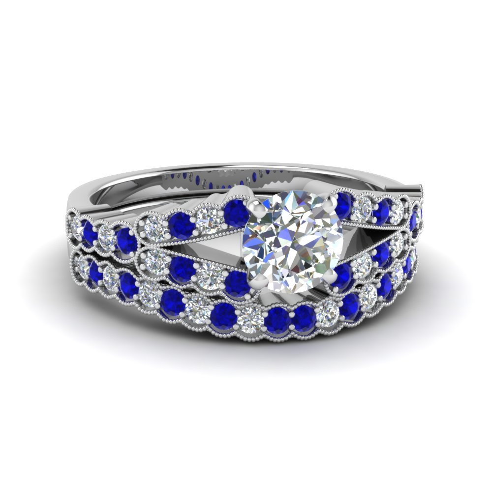 Milgrain Ring Set With Sapphire