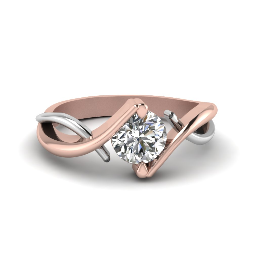 Round Cut Mixed Metal Twist Single Diamond Engagement Ring In 14K Rose Gold