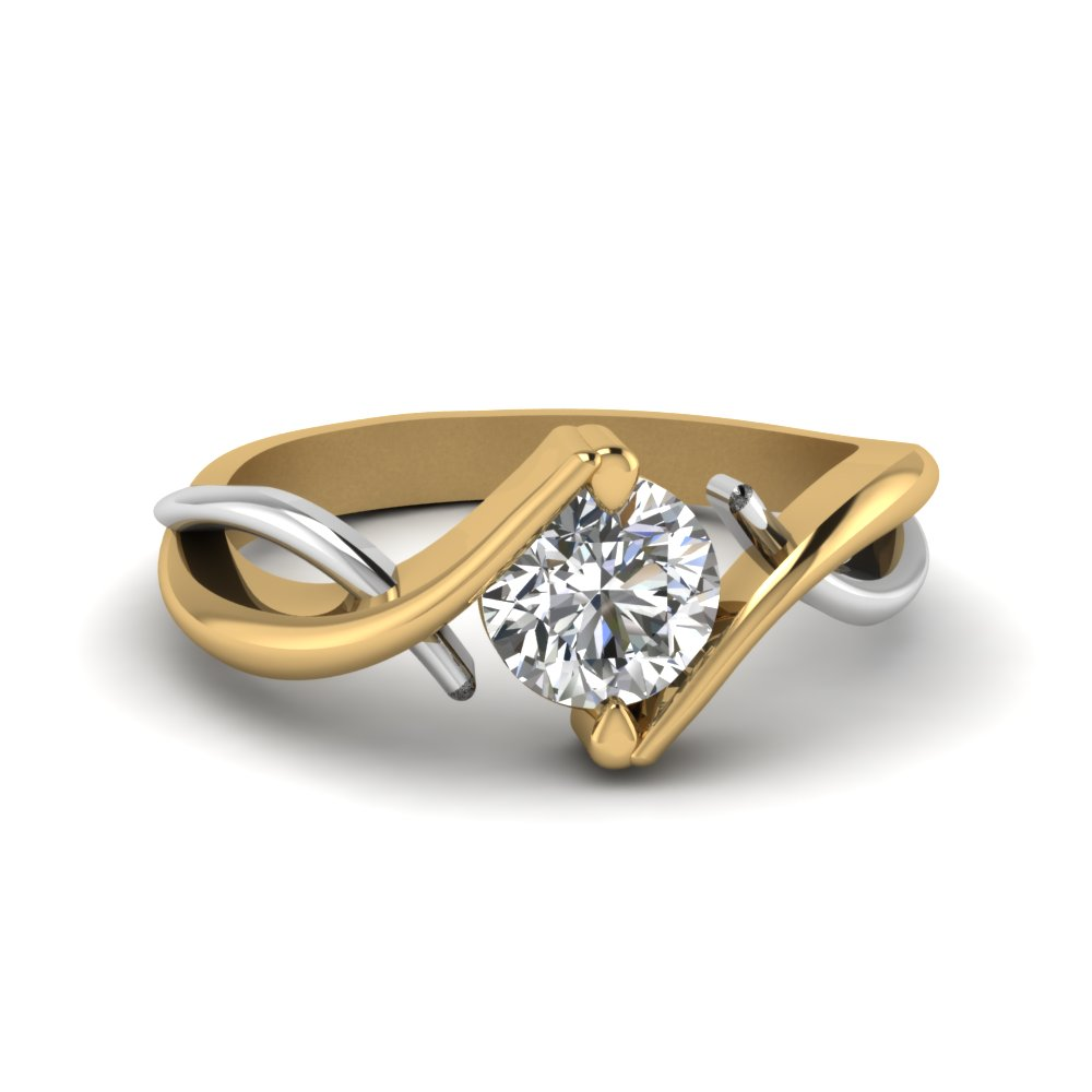 round cut mixed metal twist single diamond engagement ring in 14K yellow gold FDENR9500ROR NL YG