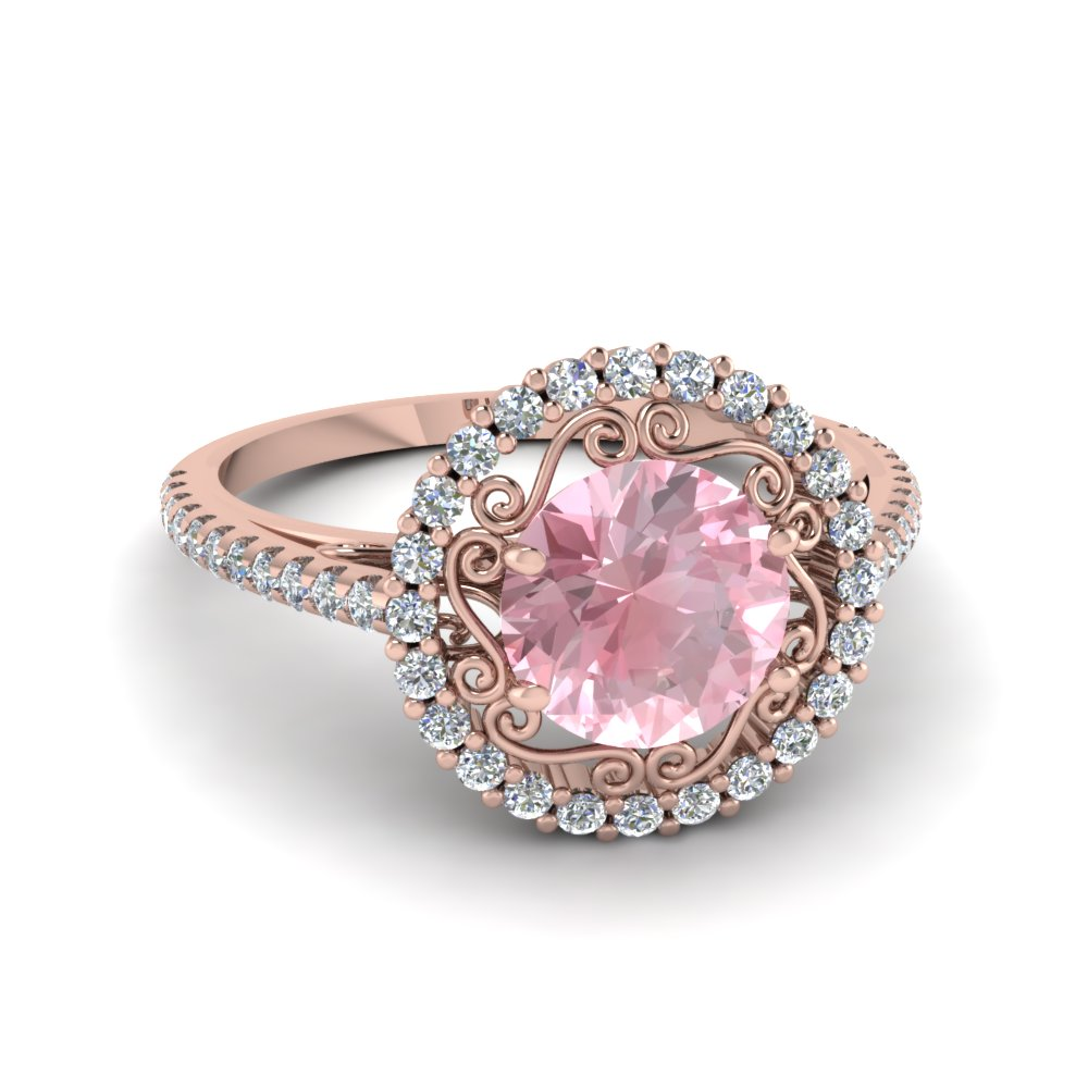 cut halo gold engagement oval ring morganite rose diamond