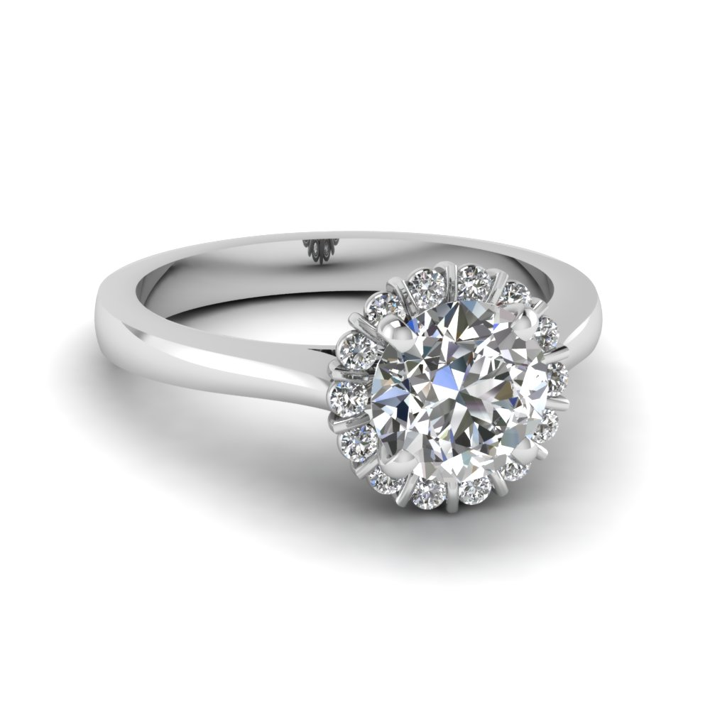 shank engagement carat halo rings uneek white round with double gold pave cushion shaped product ring in diamond and