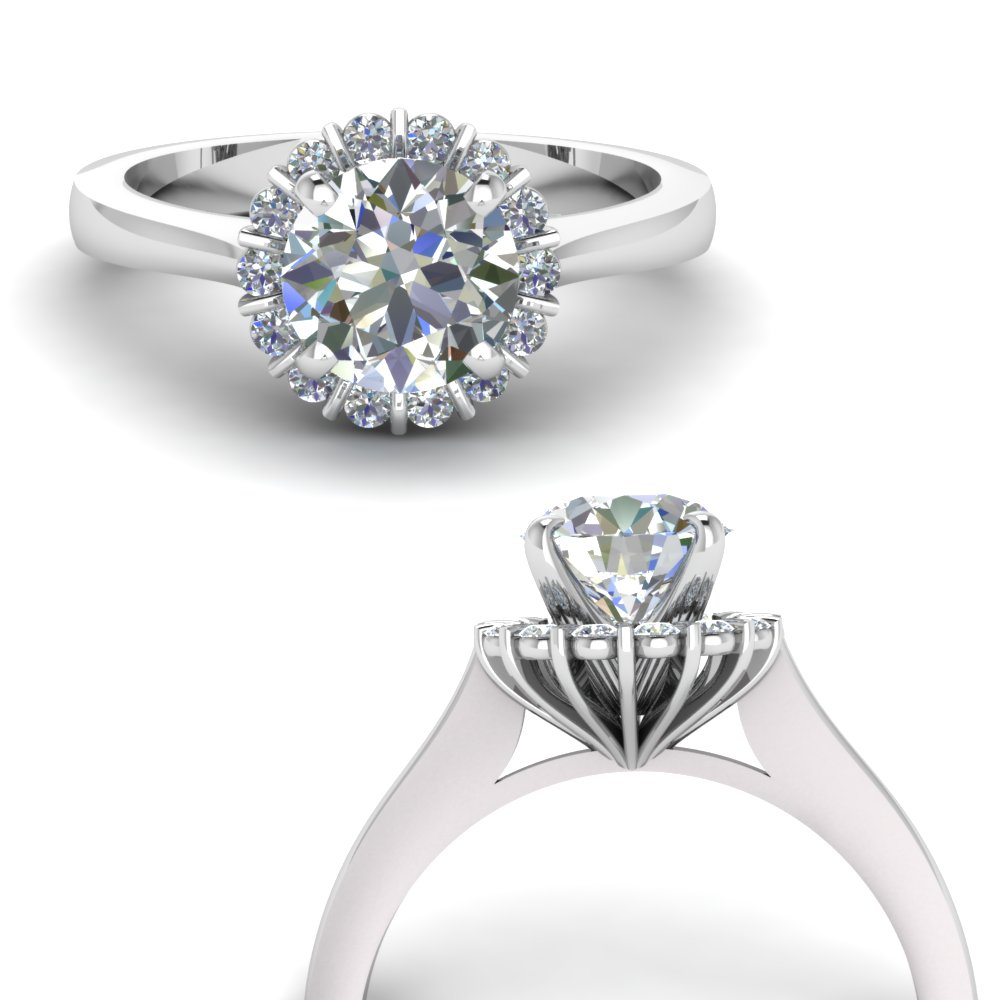 floating floral halo diamond engagement ring in FDENS3172RORANGLE3 NL WG