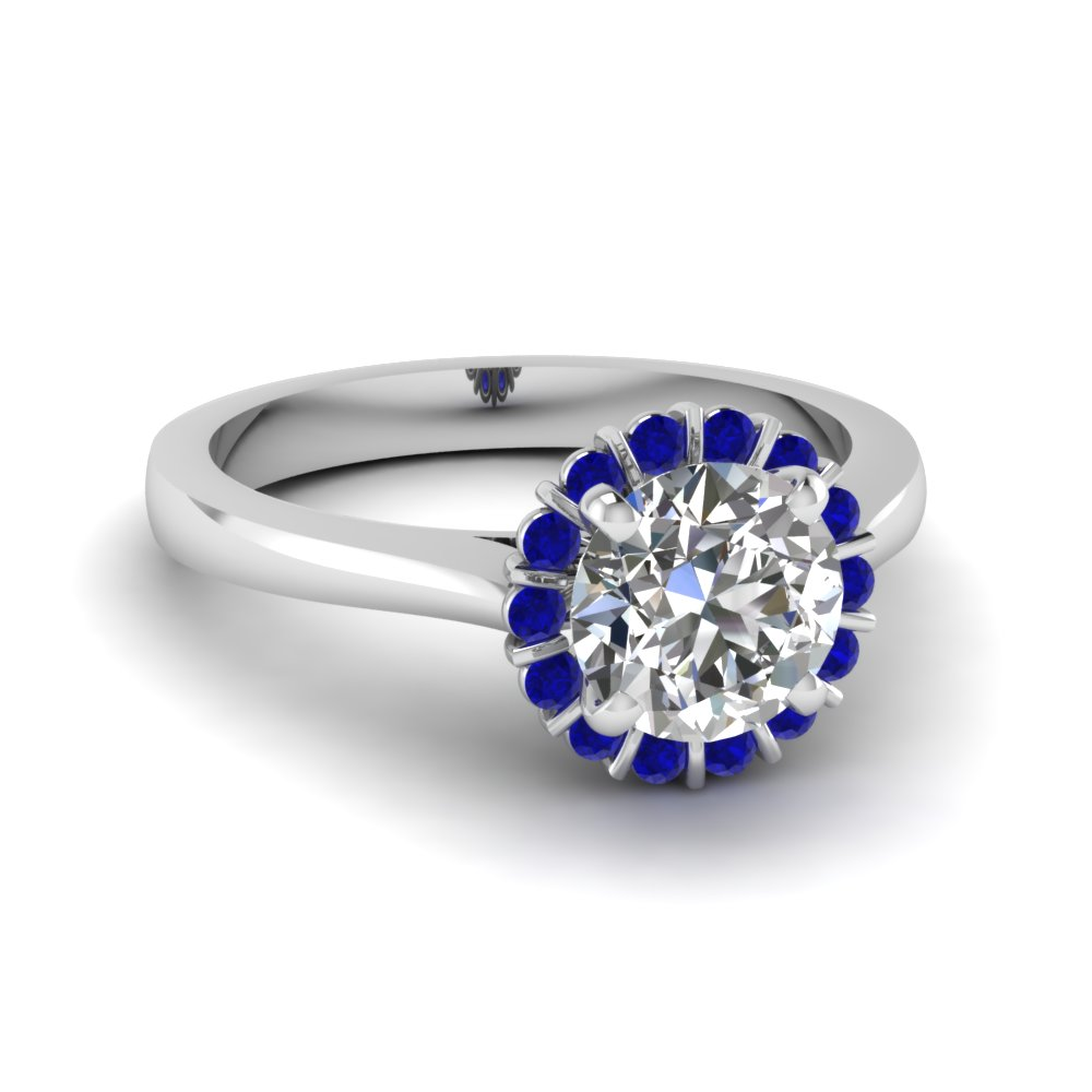 floating floral halo diamond engagement ring with sapphire in FDENS3172RORGSABL NL WG