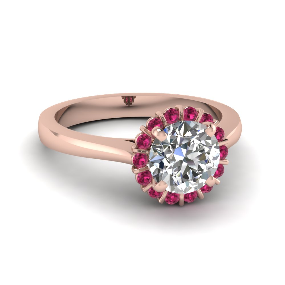 Floating Floral Halo Diamond Engagement Ring With Pink Sapphire In