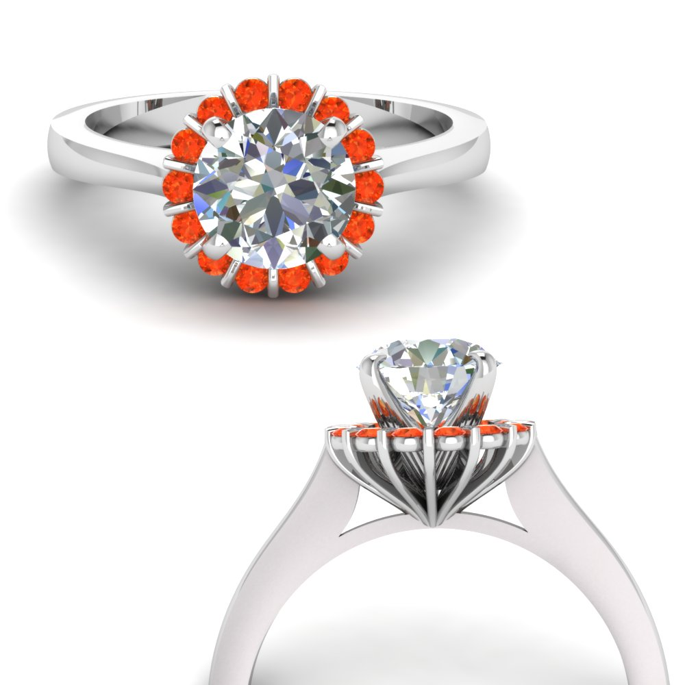 floating floral halo diamond engagement ring with orange topaz in FDENS3172RORGPOTOANGLE3 NL WG