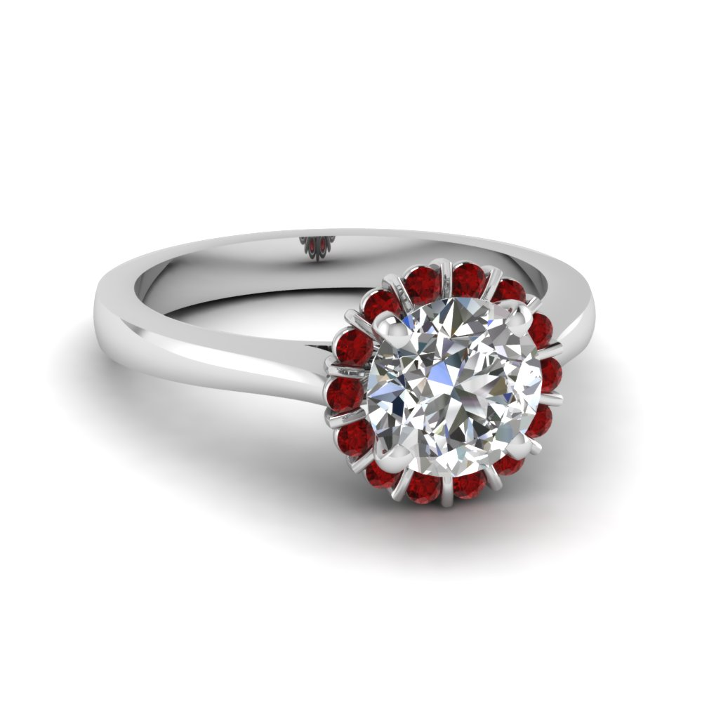 Ruby Gemstone Halo Engagement Ring