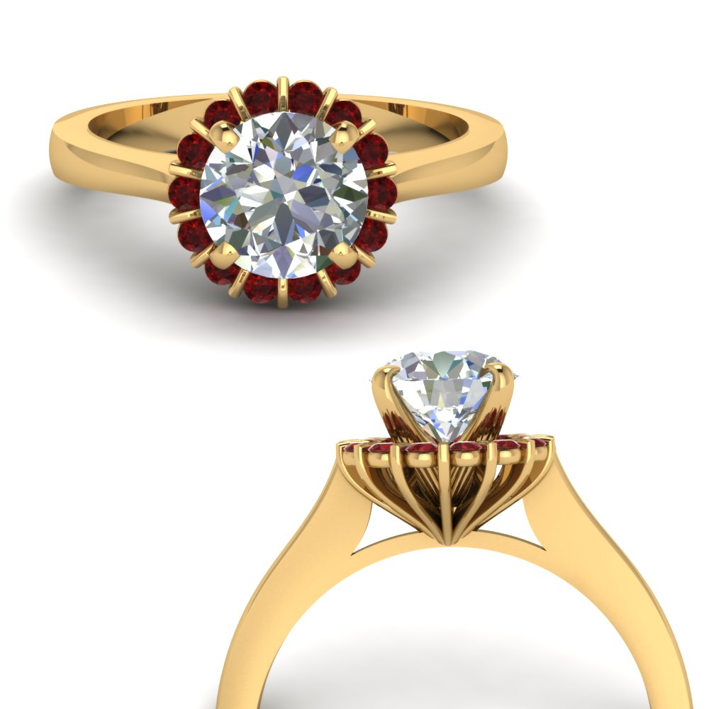 floating floral halo diamond engagement ring with ruby in FDENS3172RORGRUDRANGLE3 NL YG