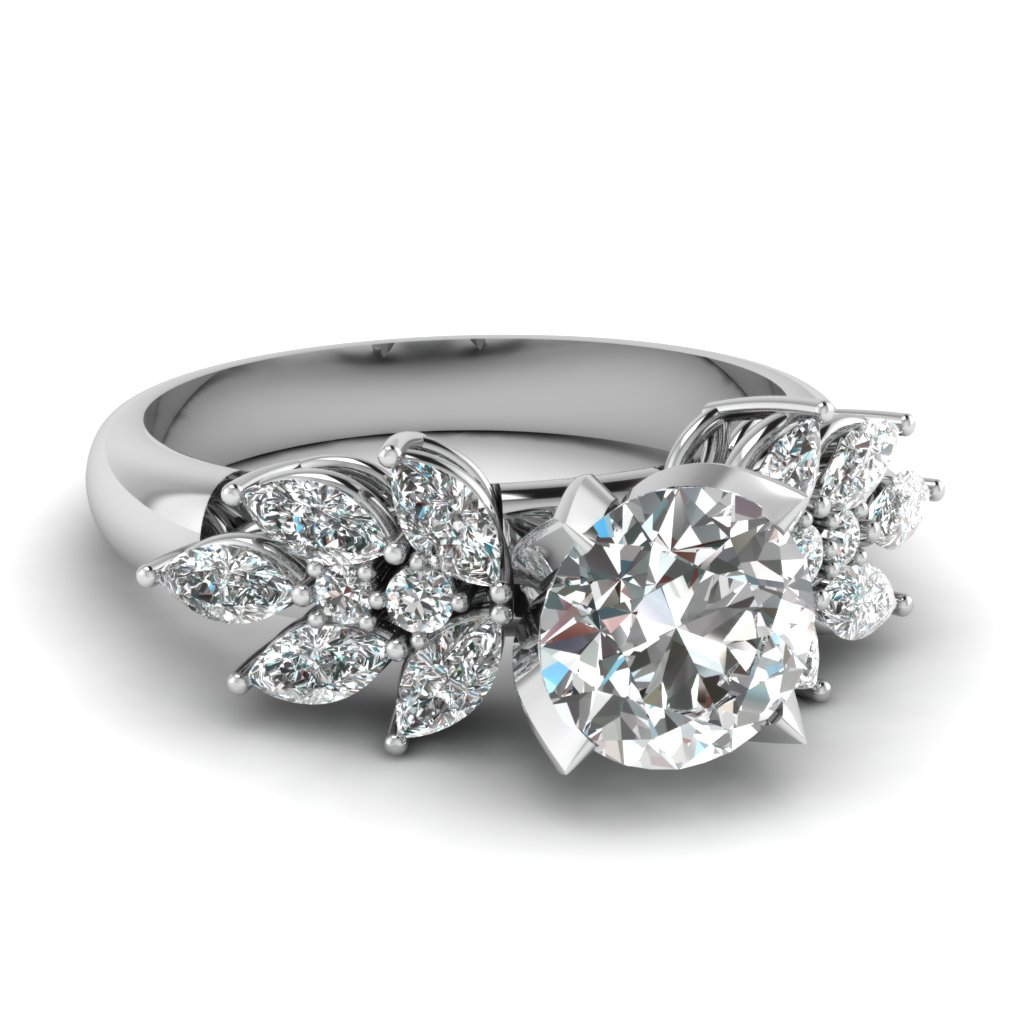 diamond marquise nature inspired engagement ring in FD12655ROR NL WG