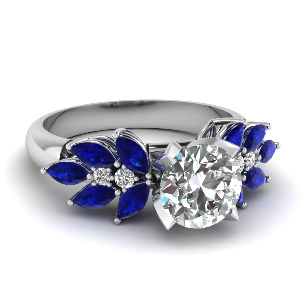 sapphire marquise nature inspired engagement ring in FD12655RORGSABL NL WG
