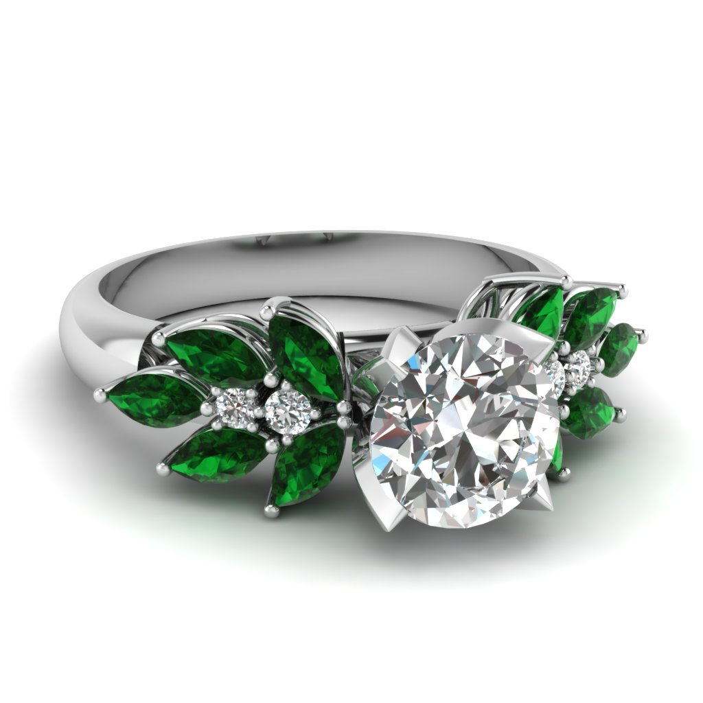 round cut nature inspired marquise diamond ring with emerald in fd12655rorgemgr nl wg - Green Wedding Rings