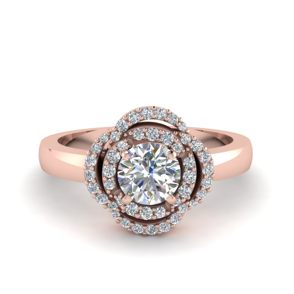 Plain Shank Halo Flower Engagement Ring