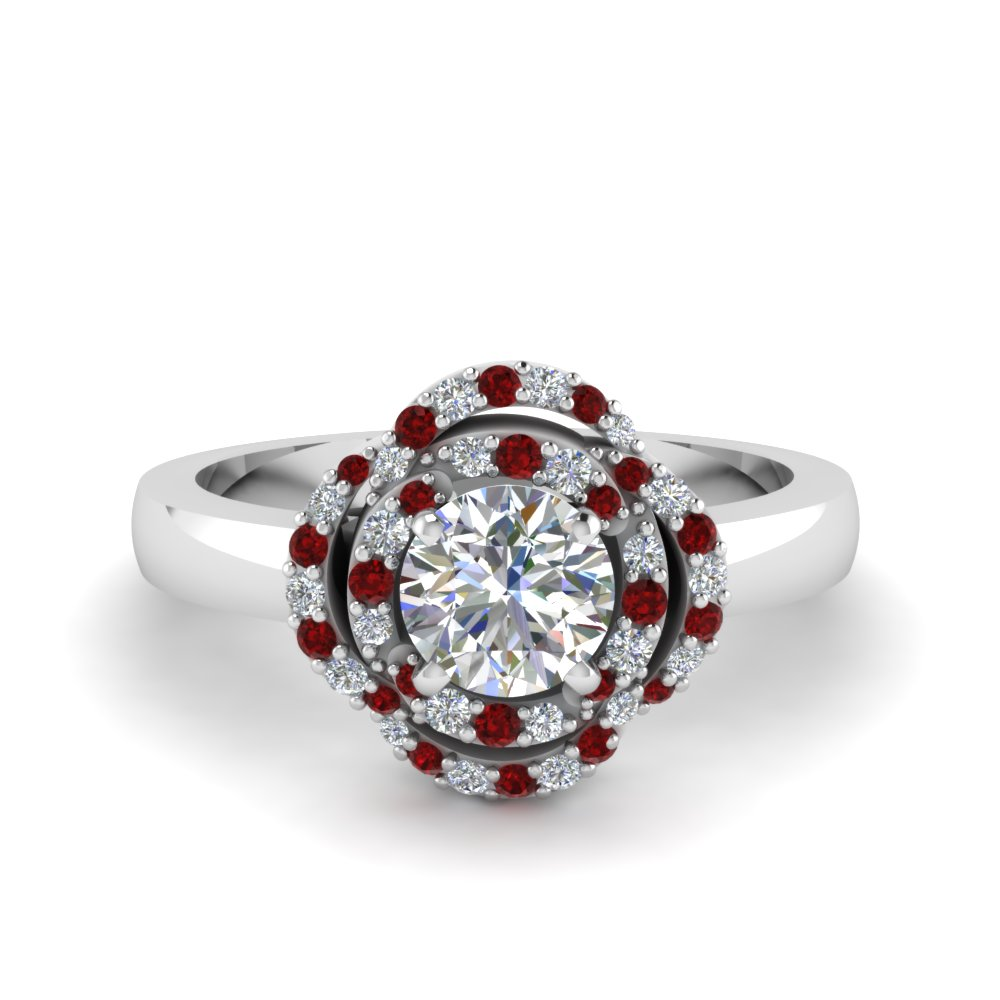 Floral Halo Ruby Ring