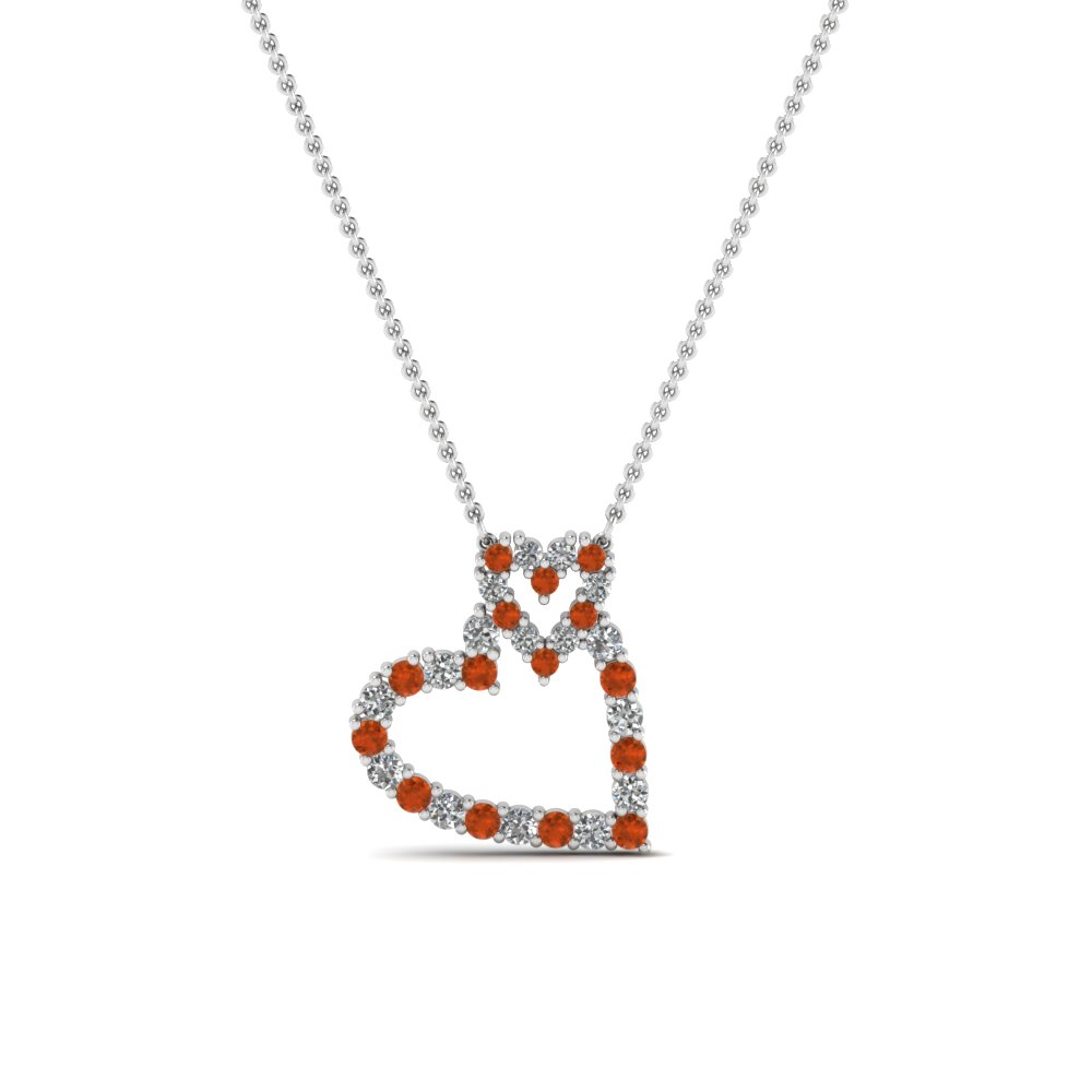 interlinked heart diamond pendant with orange sapphire in FDHPD343GSAOR NL WG