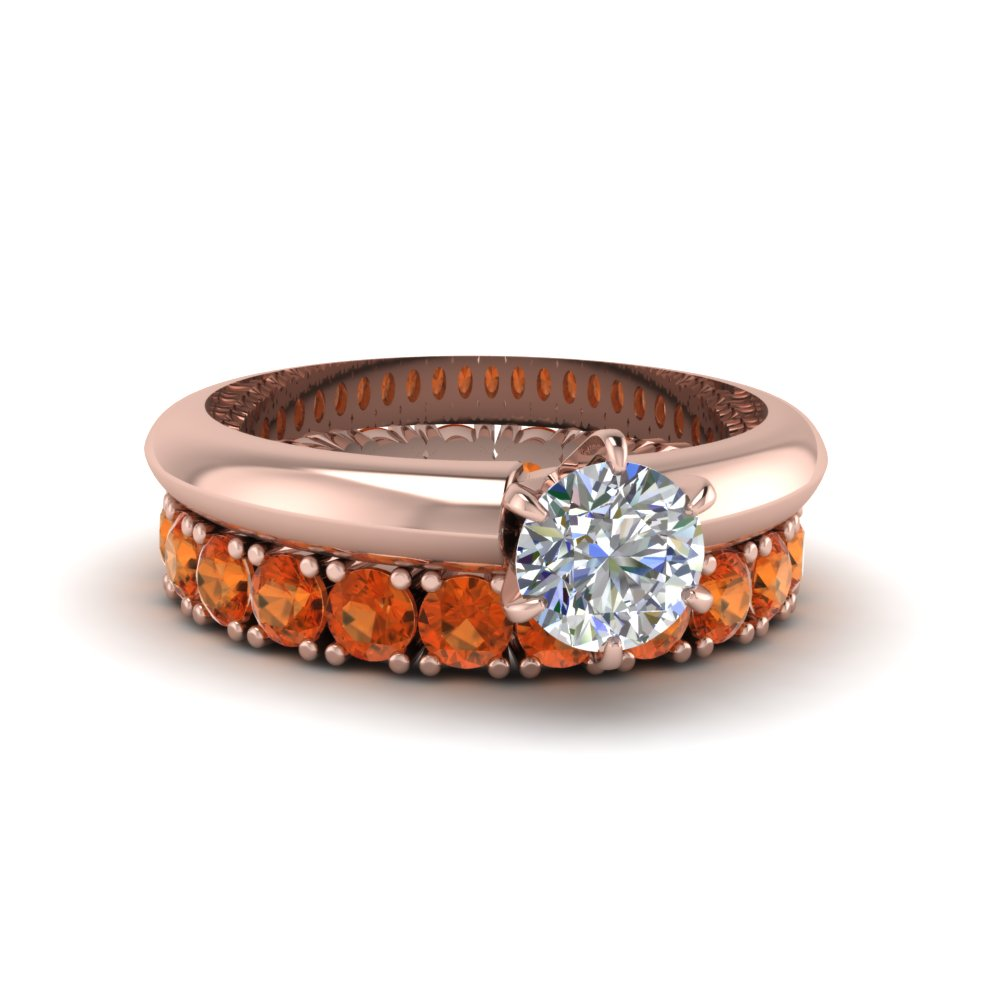 Engagement Ring With Orange Sapphire Band