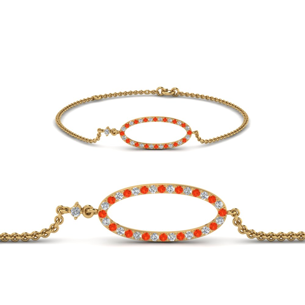 Oval Link Orange Topaz Bracelet