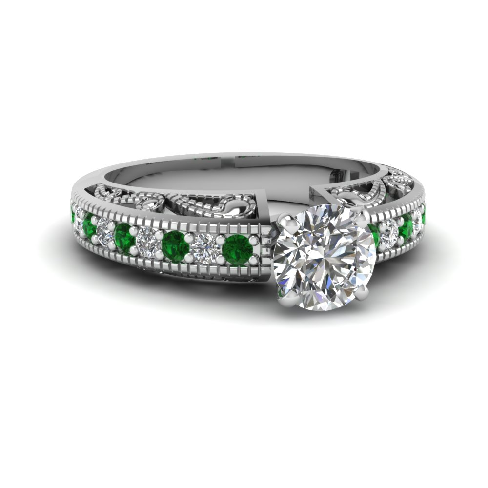 round cut paisley intricate diamond vintage engagement ring with emerald in FDENS613RORGEMGR NL WG