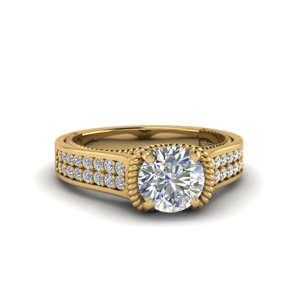 round cut pave 2 row diamond engagement ring in 14K yellow gold FDENR9508ROR NL YG