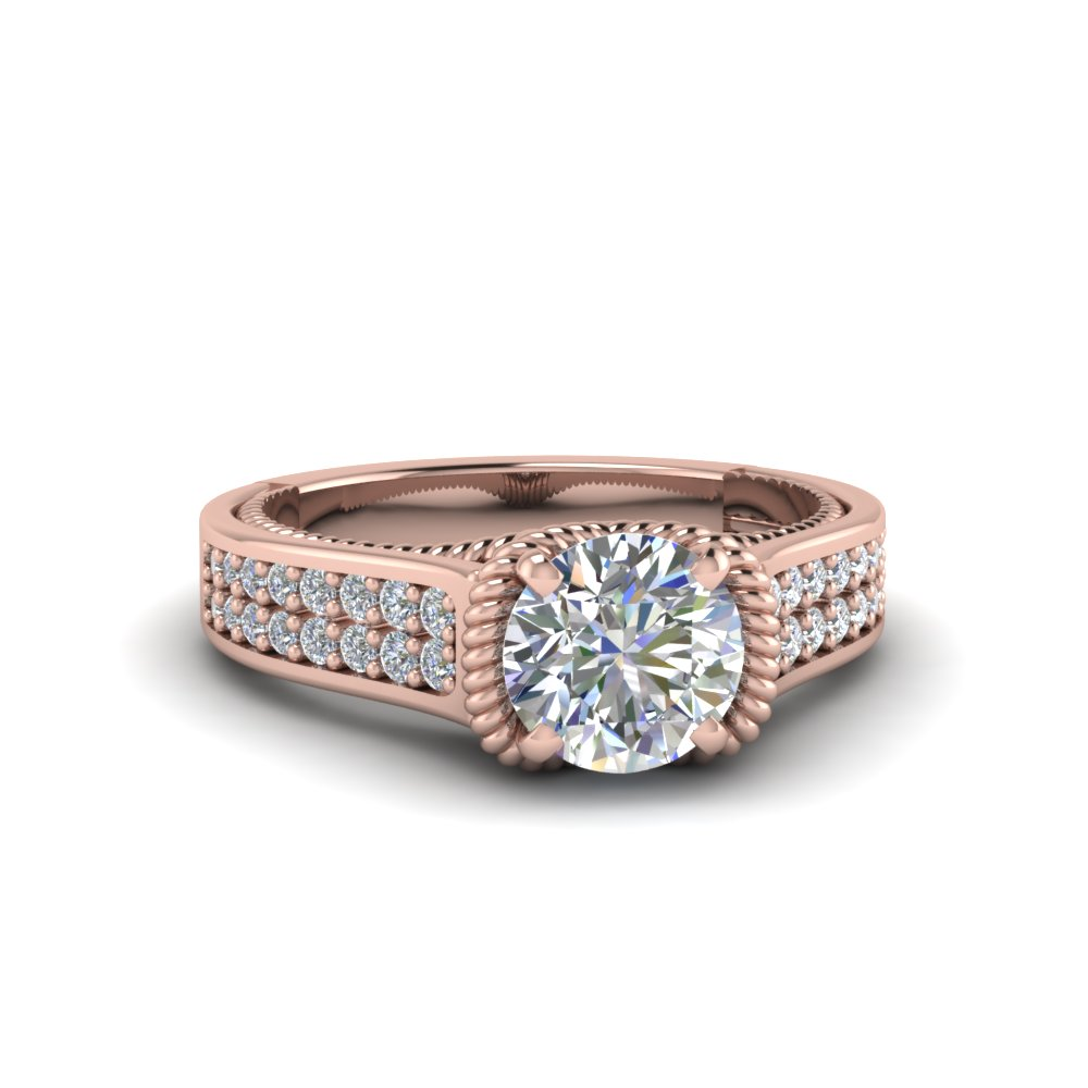 round cut pave 2 row diamond engagement ring in 18K rose gold FDENR9508ROR NL RG