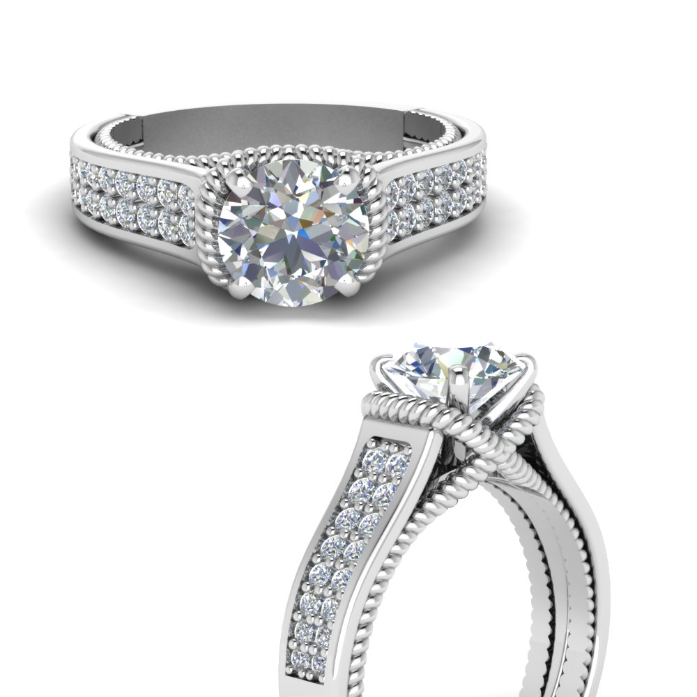 pave 2 row diamond engagement ring in FDENR9508RORANGLE3 NL WG